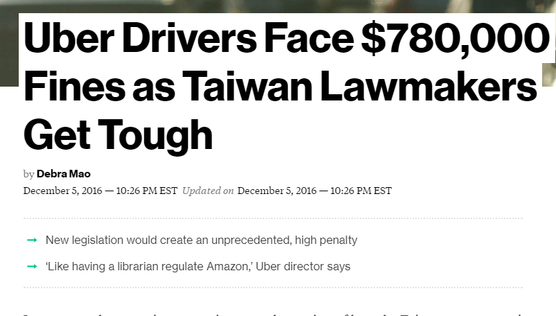Uber Drivers face $780,000 Fines as Taiwan lawmakers get tough.