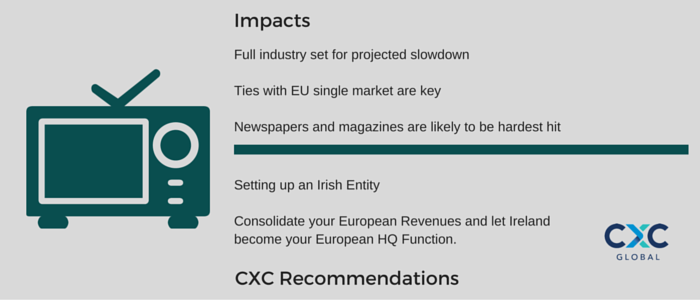 Full industry set for projected slowdown Ties with EU single market are key Newspapers and magazines are likely to be hardest hit Setting up an Irish Entity Consolidate your European Revenues and let Ireland become your European HQ Function.